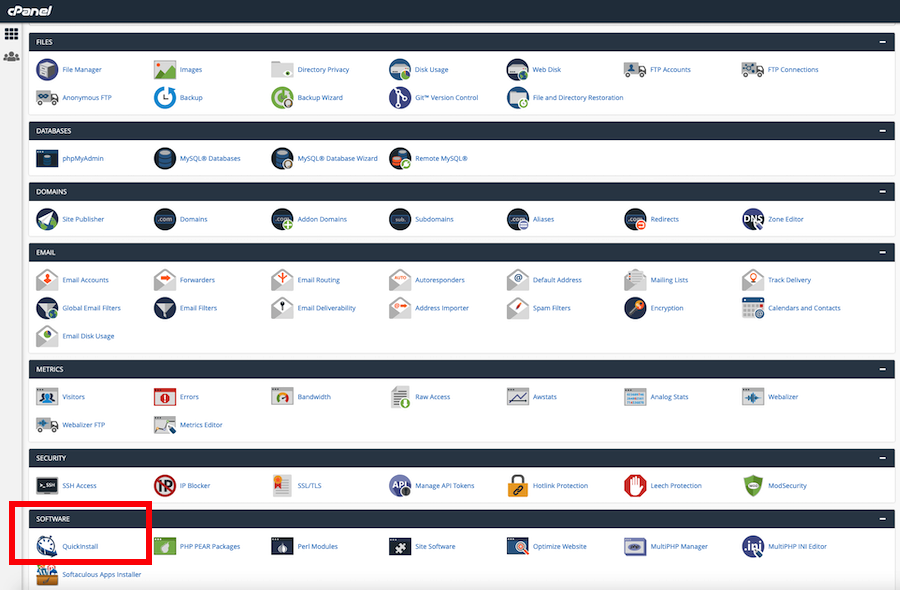 cPanel WordPress dashboard