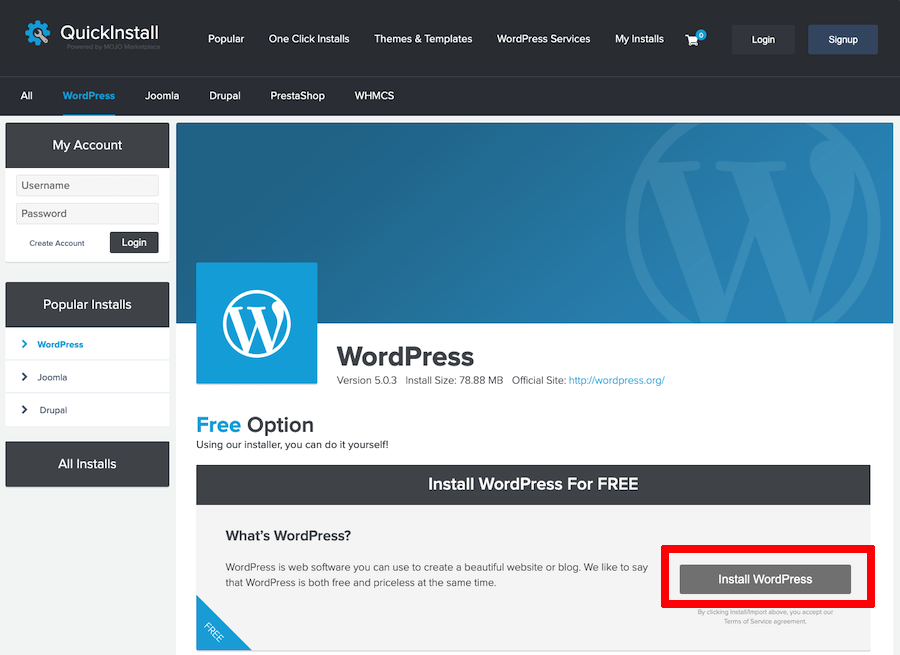 Quickinstall WordPress installation