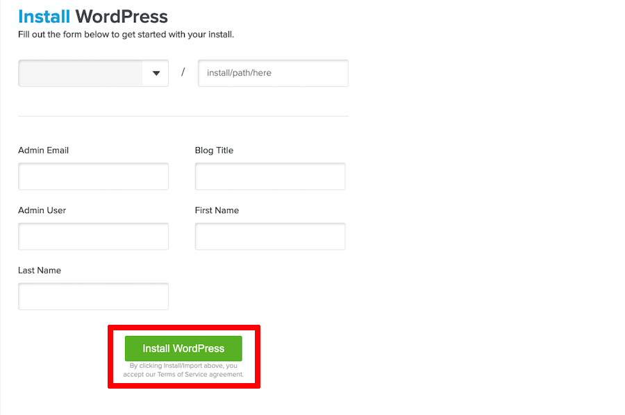 Setup WordPress Quickinstall