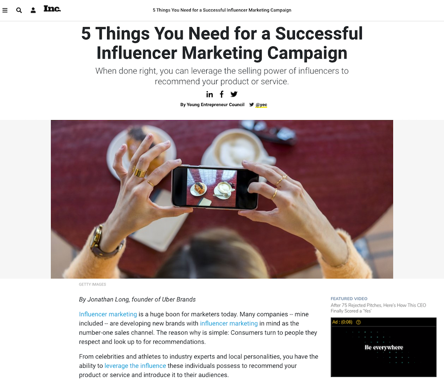 how to guest blog on Inc