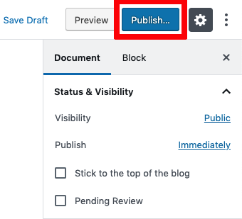 publish a blog post on WordPress