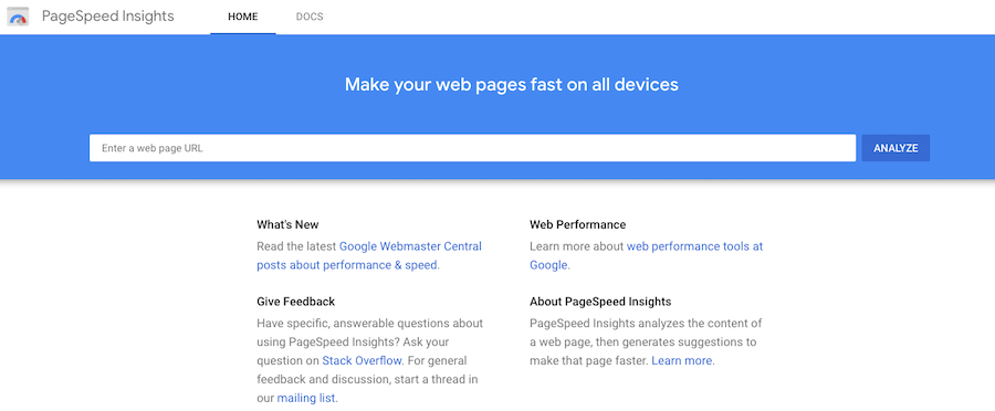 Google's PageSpeed Insights tool