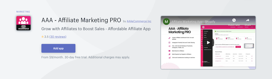 AAA ‑ Affiliate Marketing PRO Shopify app review