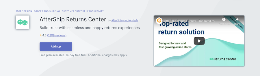 AfterShip Returns Center Shopify app review