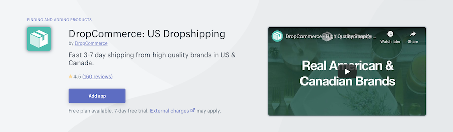 DropCommerce US Dropshipping Shopify app review