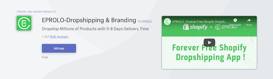 EPROLO‑Dropshipping & Branding Shopify app review