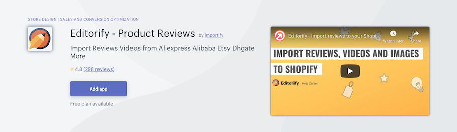 Editorify ‑ Product Reviews Shopify app review