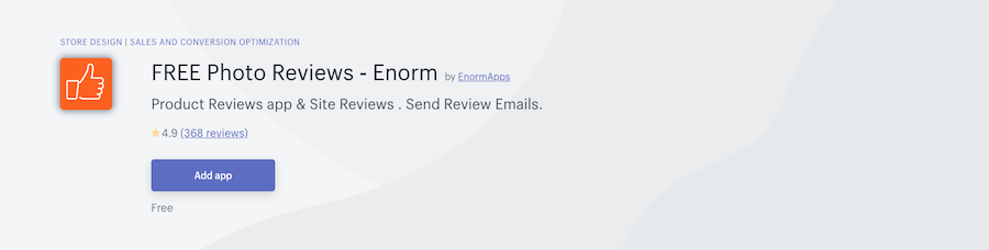 FREE Photo Reviews ‑ Enorm Shopify app review