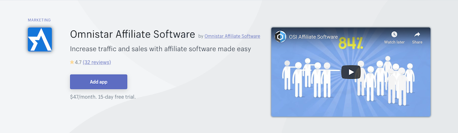 Omnistar Affiliate Software Shopify app review