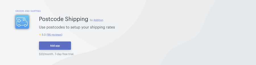 Postcode Shipping Shopify app review