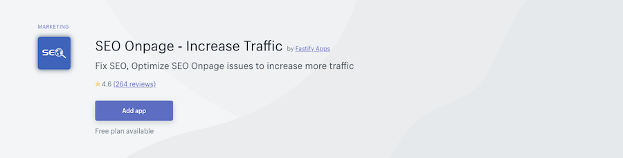 SEO Onpage - Increase Traffic Shopify app review