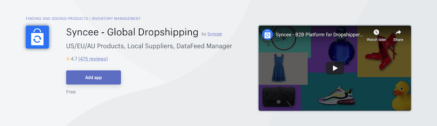 Syncee Global Dropshipping Shopify app review