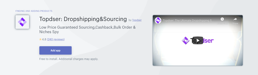 Topdser Dropshipping&Sourcing Shopify app review