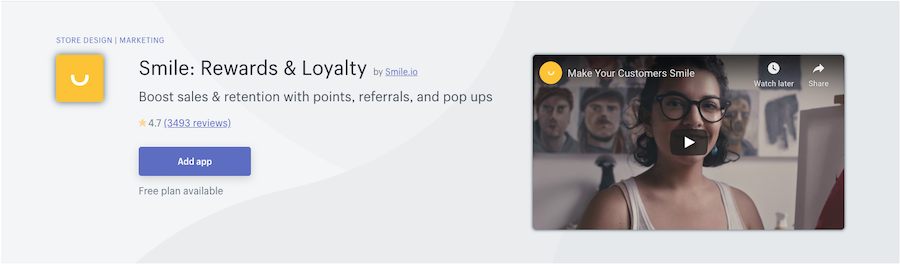 smile.io rewards loyalty Shopify app review